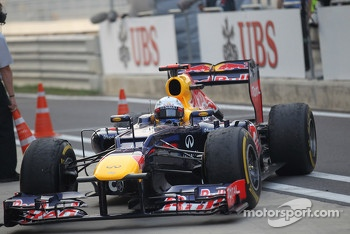 Sebastian Vettel, Red Bull Racing pulls into parc ferme