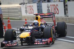 Sebastian Vettel, Red Bull Racing pulls into parc ferme
