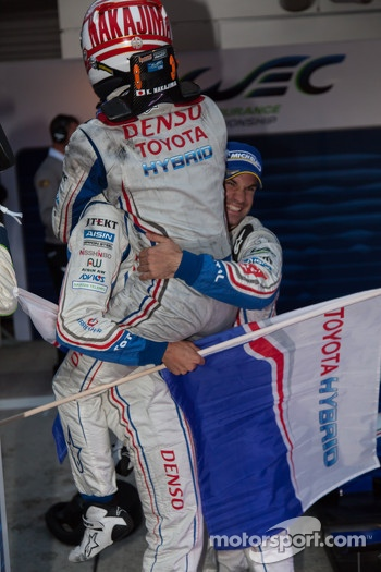 Race winners celebrate: Alexander Wurz, Nicolas Lapierre, Kazuki Nakajima