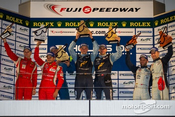 LMGTE Pro Podium: First place Marc Lieb, Richard Lietz; Second place Giancarlo Fisichella, Gianmaria Bruni; Third place Stefan Mcke, Darren Turner