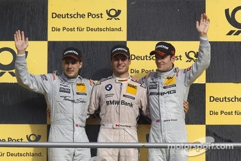 2012 championship podium, 2nd Gary Paffett, Team HWA AMG Mercedes, AMG Mercedes C-Coupe, 1st Bruno Spengler, BMW Team Schnitzer BMW M3 DTM, 3rd Jamie Green, Team HWA AMG Mercedes, AMG Mercedes C-Coupe
