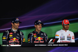 The post qualifying FIA Press Conference, Mark Webber, Red Bull Racing, second; Sebastian Vettel, Red Bull Racing, pole position; Lewis Hamilton, McLaren Mercedes, third