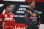 Race winner Sebastian Vettel, Red Bull Racing on the podium with Fernando Alonso, Ferrari