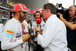 Lewis Hamilton, McLaren on the grid with Martin Brundle, Sky Sports Commentator