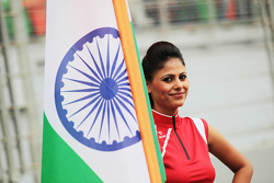 Grid girl with the Indian flag