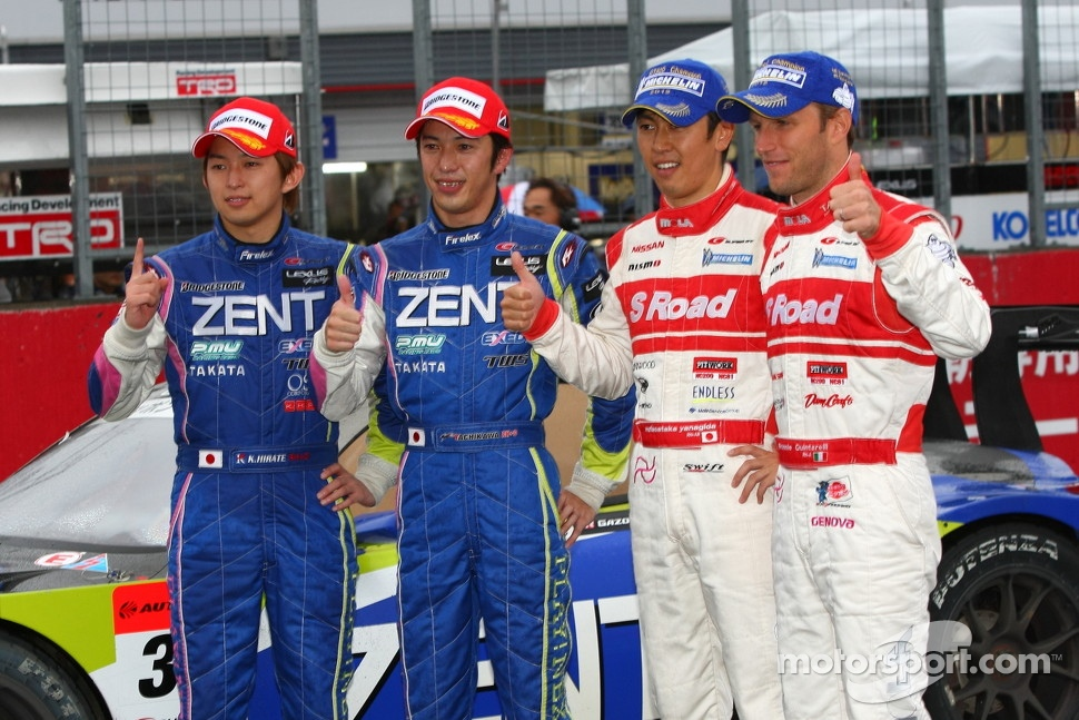 GT500 winners Kohei Hirate, Yuji Tachikawa and 2012 GT500 champions Masataka Yanagida, Ronnie Quintarelli