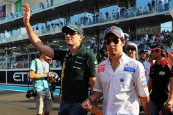 Vitaly Petrov, Caterham and Sergio Perez, Sauber on the drivers parade