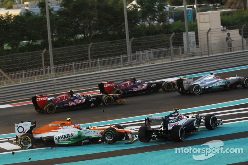 A crash at the start of the race involving Nico Hulkenberg, Sahara Force India F1 and Bruno Senna, Williams