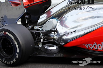 McLaren with sensor equipment at the rear suspension and exhaust