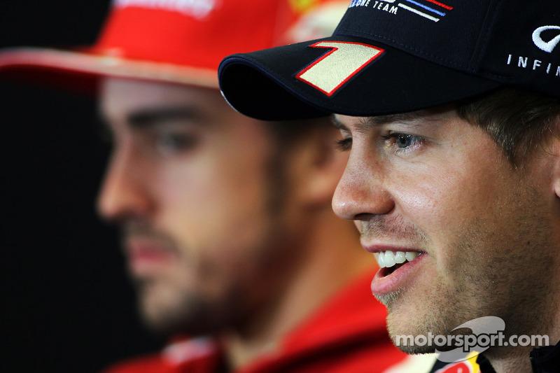 Fernando Alonso, Ferrari and Sebastian Vettel, Red Bull Racing in the FIA Press Conference