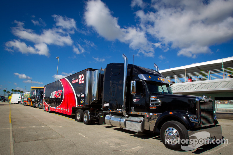 NASCAR Camping World Truck Series haulers enter the garage area