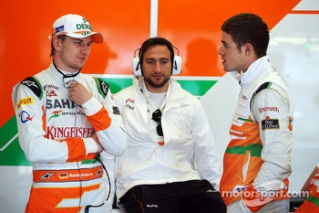 Nico Hulkenberg, Sahara Force India F1, with team mate Paul di Resta, Sahara Force India F1