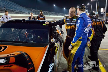 Provisional pole sitter Marcos Ambrose, Richard Petty Motorsports Ford with Brad Keselowski, Penske Racing Dodge