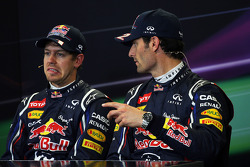 Qualifying FIA Press Conference, Sebastian Vettel, Red Bull Racing, pole position; Mark Webber, Red Bull Racing, third
