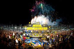 Championship victory lane: 2012 NASCAR Sprint Cup Series champion Brad Keselowski, Penske Racing Dodge celebrates