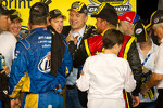 Championship victory lane: 2012 NASCAR Sprint Cup Series champion Brad Keselowski, Penske Racing Dodge congratulated by Clint Bowyer, Michael Waltrip Racing Toyota
