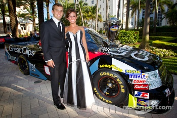 NASCAR Camping World Truck Series champion driver James Buescher, Turner Motorsports Chevrolet with his wife