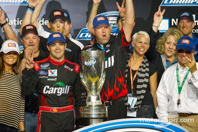 Championship victory lane: 2012 NASCAR Nationwide Series champion Ricky Stenhouse Jr., Roush Fenway Ford