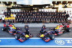Mark Webber, Red Bull Racing and team mate Sebastian Vettel, Red Bull Racing at a team photograph