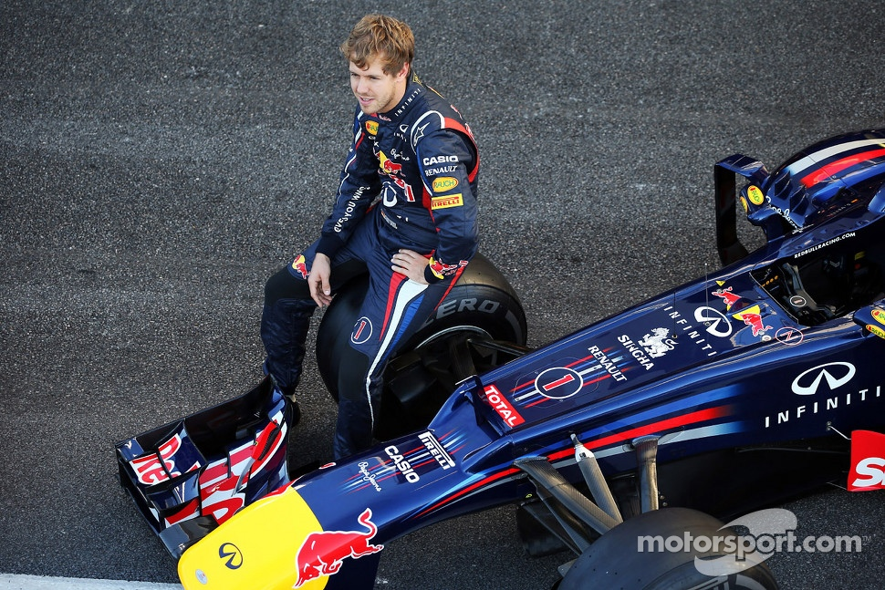 Sebastian Vettel, Red Bull Racing RB8 at a team photograph
