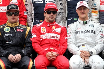 Kimi Raikkonen, Lotus F1 Team, Fernando Alonso, Scuderia Ferrari and Michael Schumacher, Mercedes GP