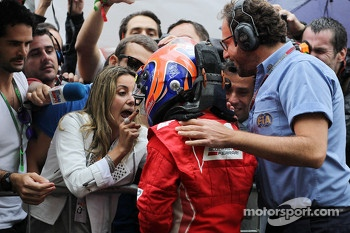 Felipe Massa, Ferrari celebrates his third position in parc ferme with wife Rafaela Bassi