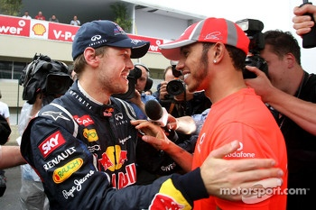Sebastian Vettel, Red Bull Racing and Lewis Hamilton, McLaren Mercedes