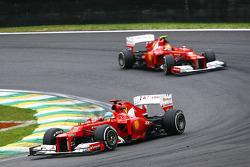 Fernando Alonso, Ferrari leads team mate Felipe Massa, Ferrari