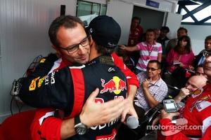 Sebastian Vettel, Red Bull Racing celebrates his World Championship with Stefano Domenicali, Ferrari General Director