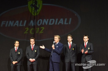 Luca di Montezemolo with Jules Bianchi, Davide Rigon, Felipe Massa and Fernando Alonso at the Ferrari Gala