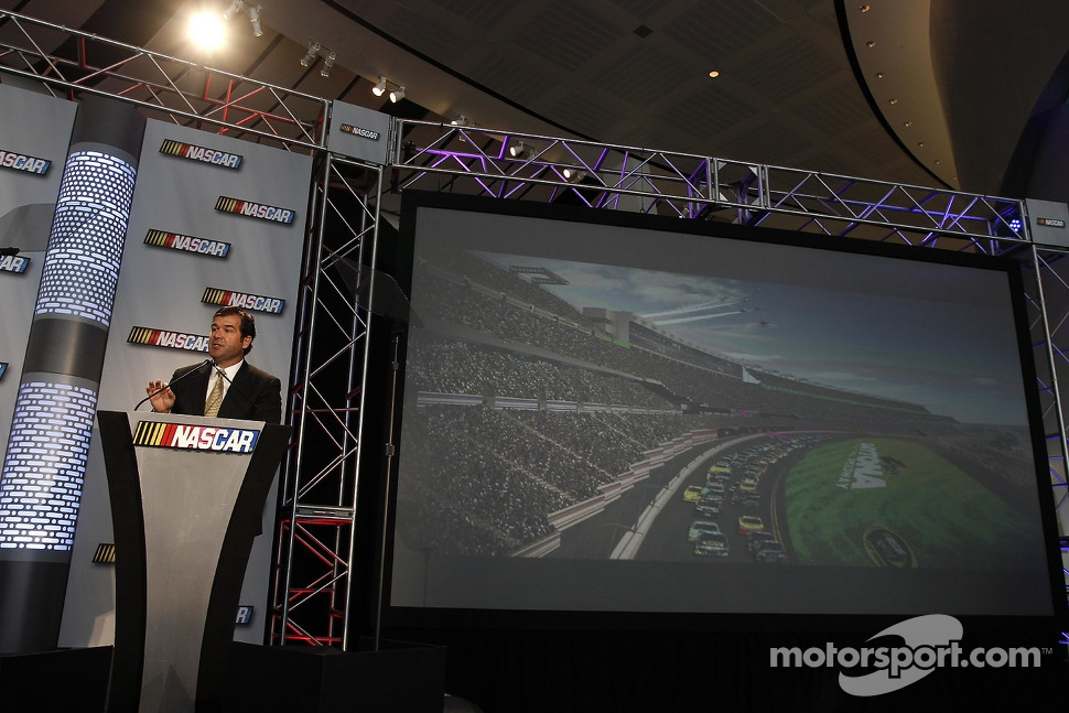 Daytona International Speedway President Joie Chitwood III present the new Daytona International Speedway
