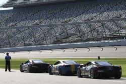 Ferrari Challenge cars await a practice session