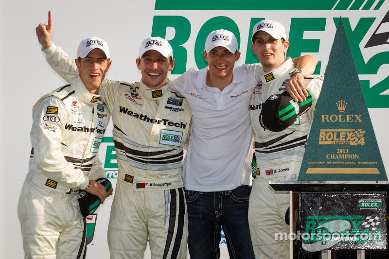 GT victory lane: class winners Filipe Albuquerque, Oliver Jarvis, Edoardo Mortara, Dion von Moltke celebrate