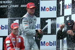 Podium: race winner David Coulthard