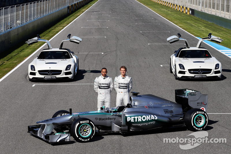 Lewis Hamilton and Nico Rosberg present the Mercedes AMG W04