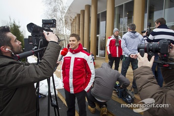 Edoardo Mortara and Mattias Ekström unveil Audi's 2013 DTM car