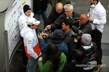 Adrian Sutil, Sahara Force India F1 with the media following the confirmation of  his seat with the team in 2013