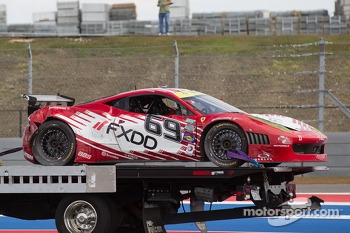 Trouble for #69 AIM Autosport Team FXDD with Ferrari Ferrari 458: Emil Assentato, Anthony Lazzaro