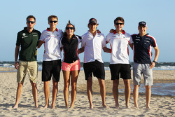 Rookie drivers on the beach, Giedo van der Garde, Caterham F1 Team; Esteban Gutierrez, Sauber; Max Chilton, Marussia F1 Team; Jules Bianchi, Marussia F1 Team; Valtteri Bottas, Williams