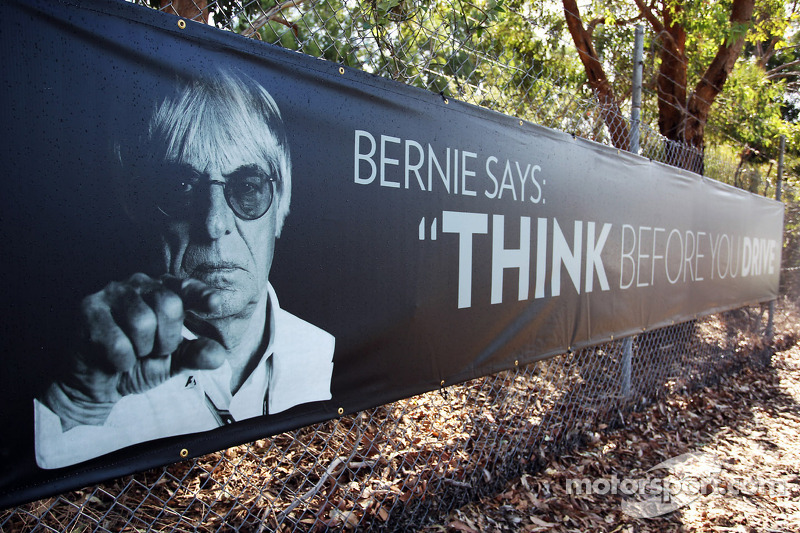 Anti drunk driving banner featuring Bernie Ecclestone