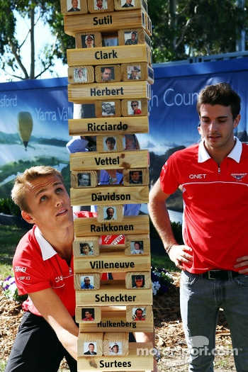 Jules Bianchi, Marussia F1 Team and team mate Max Chilton, Marussia F1 Team play F1 driver Jenga with Sky Sports F1