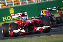 Fernando Alonso, Ferrari F138 leads Sebastian Vettel, Red Bull Racing RB9