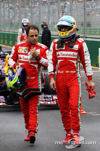 (L to R): Felipe Massa, Ferrari and team mate Fernando Alonso, Ferrari in parc ferme
