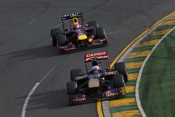 Daniel Ricciardo, Scuderia Toro Rosso STR8 leads Mark Webber, Red Bull Racing RB9