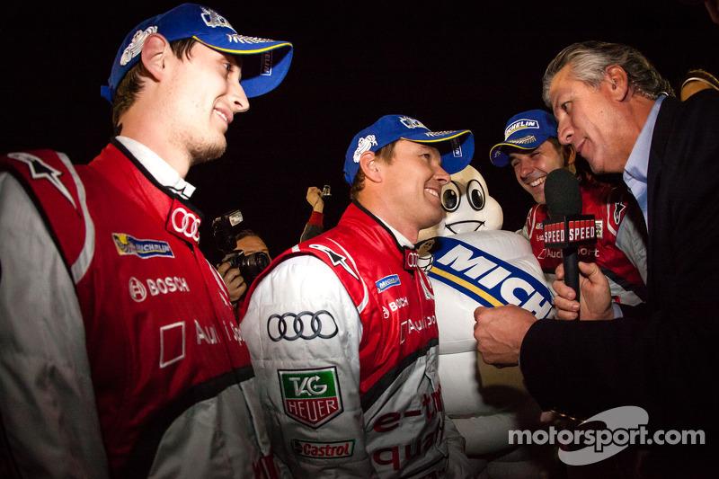 Race winners Marcel Fässler, Benoit Tréluyer and Oliver Jarvis celebrate