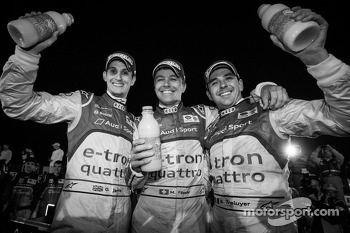 Race winners Oliver Jarvis, Marcel Fässler and Benoit Tréluyer celebrate