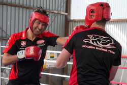 Garth Tander and Fabian Couthard practice boxing with World Middleweight Boxing Champion Daniel Geale