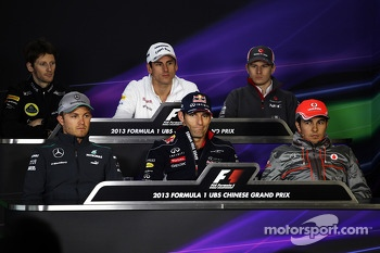 The FIA Press Conference, Lotus F1 Team; Adrian Sutil, Sahara Force India F1; Nico Hulkenberg, Sauber; Nico Rosberg, Mercedes AMG F1 ;Mark Webber, Red Bull Racing; Sergio Perez, McLaren.  11.04.2013. Formula 1 World Championship, Rd 3, Chinese Grand Prix,