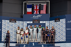 LMGTE Am Podium: First Place Christoffer Nygaard, Kristian Poulsen, Allan Simonsen; Second Place Patrick Bornhauser, Julien Canal, Fernando Rees; Third Place Enzo Potolicchio, Rui Aguas, Philipp Peter
