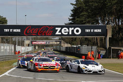 Pace laps: #24 Blancpain Reiter Lamborghini LP600+: Peter Kox, Stefan Rosina on pole